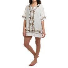 Studio West Embroidered Tunic Cover-Up - Short Sleeve (For Women) in White/Navy - Closeouts