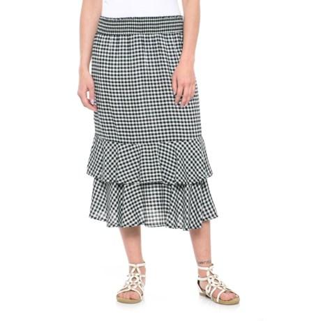 Studio West Gingham Pull-On Skirt (For Women) in Black/White