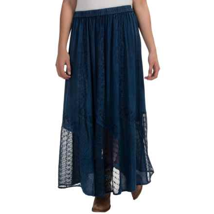 Studio West Lace and Jacquard Skirt (For Women) in Denim - Overstock