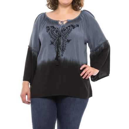 Studio West Ombre Peasant Shirt - Long Sleeve (For Women) in Grey Ombre - Closeouts