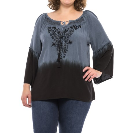 Studio West Ombre Peasant Shirt - Long Sleeve (For Women) in Grey Ombre