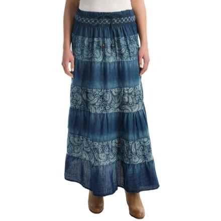 Studio West Paisley Tiered Skirt (For Women) in Denim - Overstock