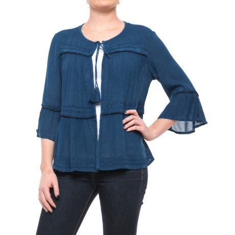 Studio West Peasant Cardigan Shirt - Elbow Sleeve (For Women) in Indigo