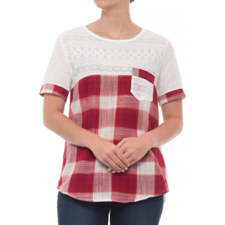 Studio West Plaid Color-Block Shirt - Short Sleeve (For Women) in Red/White