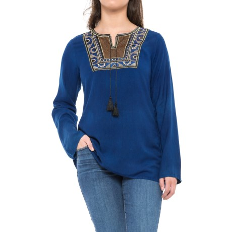 Studio West Tapestry Embroidered Peasant Shirt - Long Sleeve (For Women) in Indigo