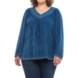 Studio West V-Neck Tapestry Peasant Shirt - Long Sleeve (For Plus Size Women)