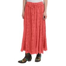 Studio West Vertical Embroidered Skirt (For Women) in Coral - Closeouts