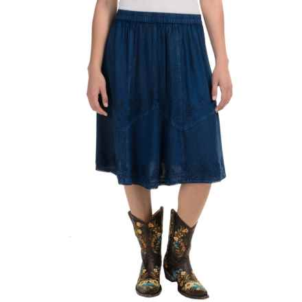 Studio West Waffle Weave and Embroidery Skirt (For Women) in Denim - Overstock