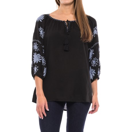 Studio West Whipstitched and Embroidered Shirt - 3/4 Sleeve (For Women) in Black/Blue