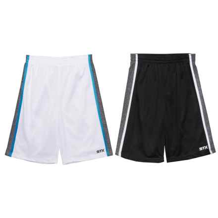 STX Athletic Geometric Lines Shorts - 2-Pack (For Big Boys) in Black/White - Closeouts
