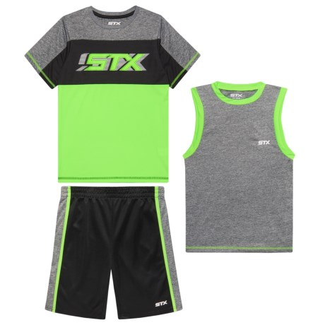 STX Cationic Short Sleeve T-Shirt, Muscle Tank Top and Shorts Set (For Big Boys) in Lime