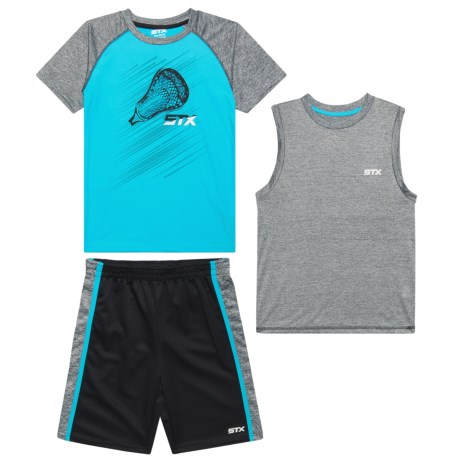 STX Cationic Turquoise T-Shirt, Tank Top and Shorts - 3-Piece Set (For Big Boys) in Turq