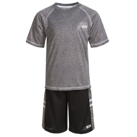 STX T-Shirt and Shorts Set - Short Sleeve (For Little Boys) in Black