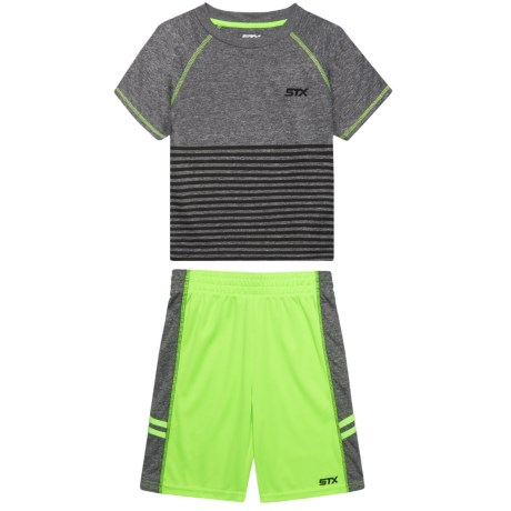 STX T-Shirt and Shorts Set - Short Sleeve (For Little Boys) in Neon Lime