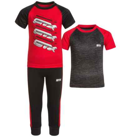 STX T-Shirts and Joggers Set - 3-Piece, Short Sleeve (For Big Boys) in Engine Red - Closeouts