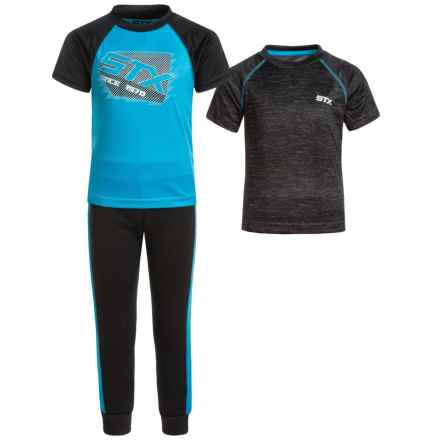 STX T-Shirts and Joggers Set - 3-Piece, Short Sleeve (For Little Boys) in Turquoise - Closeouts