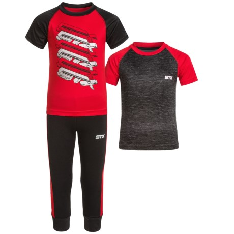 STX T-Shirts and Joggers Set - 3-Piece, Short Sleeve (For Toddler Boys) in Engine Red
