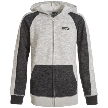 STX Terry-Knit Hoodie - Zip Front (For Big Boys) in Heather Grey/Charcoal