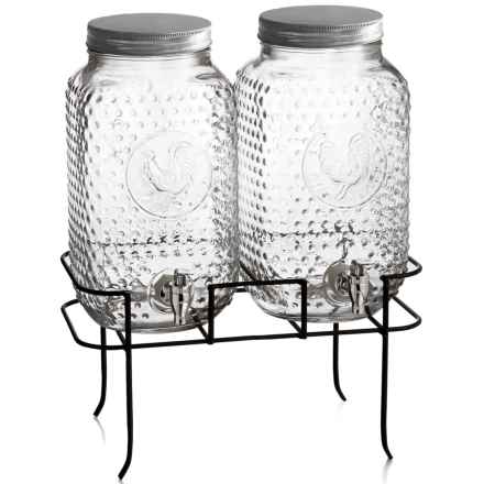Style Setter Rooster Beverage Dispenser Set with Stand in Clear - Overstock