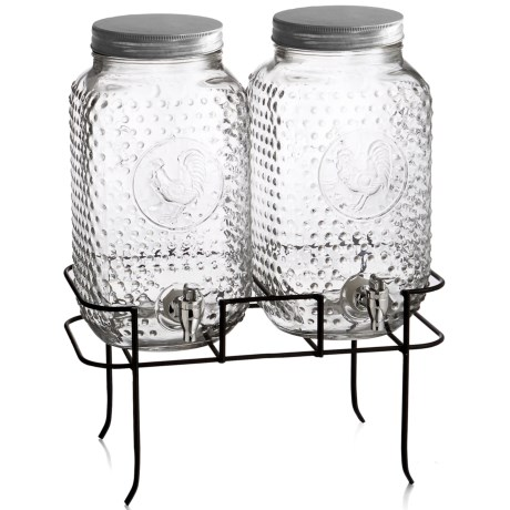 Style Setter Rooster Beverage Dispenser Set with Stand in Clear