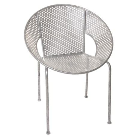 Stylecraft Galvanized Metal Accent Arm Chair in Silver