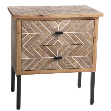 Stylecraft Printed 2-Drawer End Table in Natural