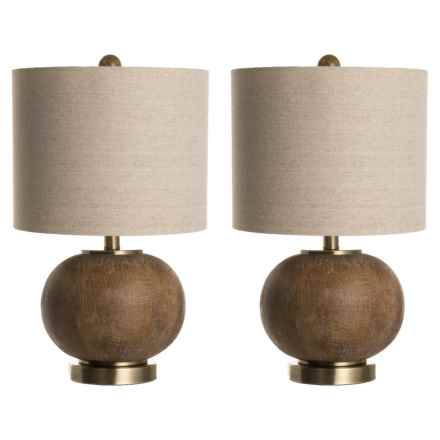 Stylecraft Round Wood Lamps - Set of 2 in Natural - Closeouts