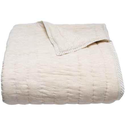 Suchira Grey Waves Block Printed Comforter - Queen, Reversible in Grey - Closeouts