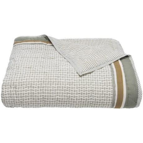 Suchira Harbor Fog Block Printed Comforter - Queen, Reversible in Tan