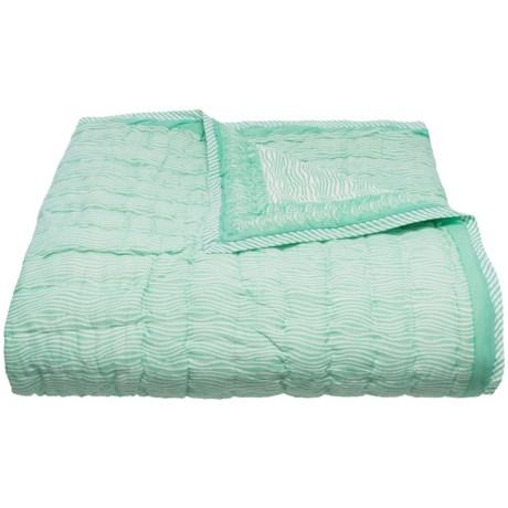 Suchira Maritime Wave Block Printed Comforter Set - Twin, Reversible in Seaglass