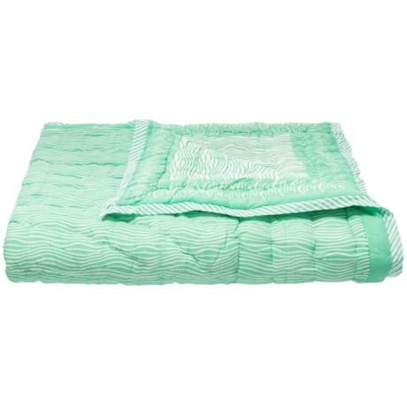 "Suchira Maritime Wave Reversible Throw Blanket - 50x60"" in Seaglass"