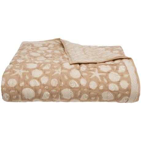 Suchira Sand Block Printed Comforter - Queen, Reversible in Tan