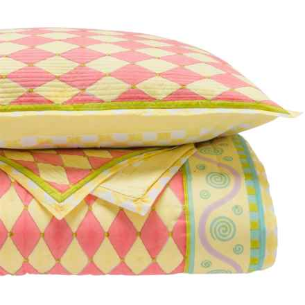 Suchira Whimsey Block Printed Comforter Set - Twin, Reversible in Yellow/Red - Closeouts