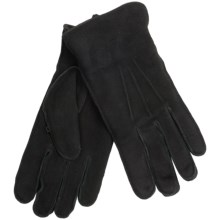 Suede Gloves with Shearling Cuff Lining - Fleece Lining (For Men) in Black - 2nds