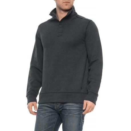 Sueded Fleece Buttoned Sweatshirt (For Men) - BLACK HEATHER (L )