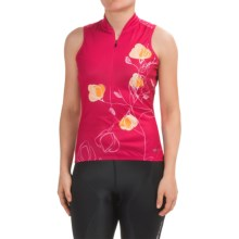 SUGOi Floral Cycling Jersey - UPF 20, Zip Neck, Sleeveless (For Women) in Bright Rose - Closeouts
