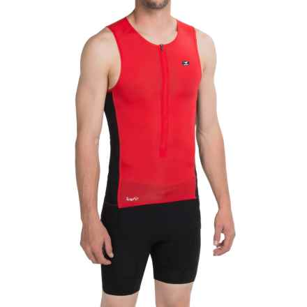 SUGOi RS Ice Tri Tank Top - UPF 50+, Zip Neck (For Men) in Chili Red - Closeouts