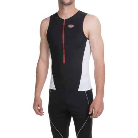 SUGOi RS Tri Tank Top - Zip Neck (For Men) in Black/White - Closeouts
