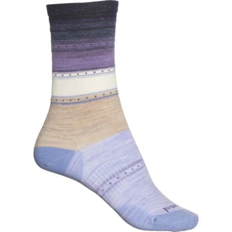 Sulawesi Stripe Socks - Merino Wool, Crew (For Women) - OATMEAL (S ) -  SmartWool