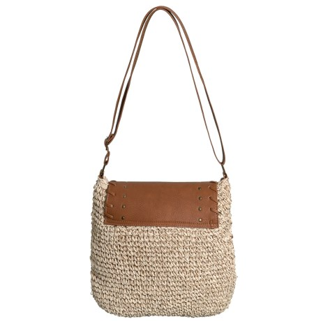Sun N Sand Natural Straw Crochet Crossbody Bag (For Women) in Natural