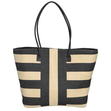 Sun N Sand Oversized Striped Shopping Tote Bag (For Women) in Black