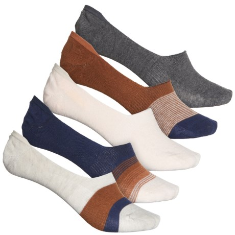 Sun Stripe Liner Socks - 5-Pack, Below the Ankle (For Women) - NAVY (M ) -  Frye and Co.
