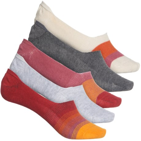 Sun Stripe Liner Socks - 5-Pack, Below the Ankle (For Women) - RED (M ) -  Frye and Co.