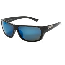 Suncloud Feedback Sunglasses - Polarized in Black/Blue Mirror - Closeouts