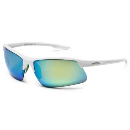 Suncloud Flyer Sunglasses - Polarized in White/Green Mirror - Closeouts