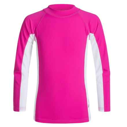 Sunday Afternoons Wave Rider Rash Guard - UPF 50+, Long Sleeve (For Little and Big Girls) in Pink Hibiscus - Closeouts