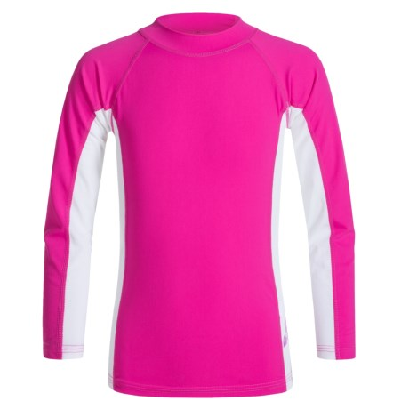 Sunday Afternoons Wave Rider Rash Guard - UPF 50+, Long Sleeve (For Little and Big Girls) in Pink Hibiscus