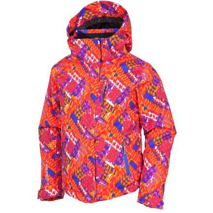 Sunice Jr. Naquita Technical Ski Jacket - Waterproof, Insulated (For Big Girls) in Mango Multi/Houndstooth/Grape - Closeouts