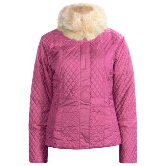 Sunice Julia Quilted Jacket - Faux-Fur Trim (For Women) in Bubble Gum