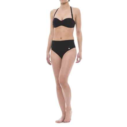 Sunseeker Twist Bandeau Bikini Set - Push-Up Top, High-Waist Briefs (For Women) in Black - Closeouts